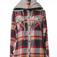 Plaid Button Up Hoodie