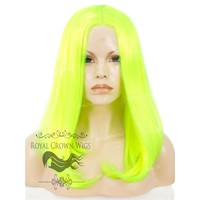 "17 inch ""Victoria"" Straight Texture Bob Heat Safe Synthetic Wig Highlighter Yellow/Green"