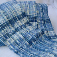 Blue Scarf Hand Woven in Cotton and Bamboo