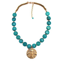 Andrea Barnett Turquoise Necklace with Protect Animals Medal