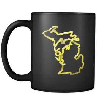 Love Michigan State Flag Map Outline Black 11oz Mug