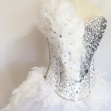 White Swan Costume inspired dance wear / dance competition/ performance/ dancer / custom costume
