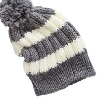 Aerie Women's Striped Pom Beanie (Dark Heather Grey)