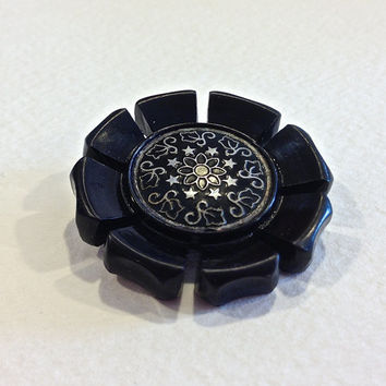 Celluloid Button, Fancy Flower Button, Antique Button, Black Button, Molded Button, Self Shank Button, Circa 1920s to 1930s