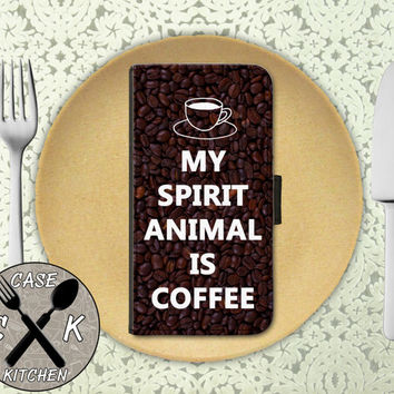 My Spirit Animal Is Coffee Funny Quote Tumblr Inspired Wallet Phone Case iPhone 4 and 4s and iPhone 5 and 5s and 5c iPhone 6 and 6 Plus +
