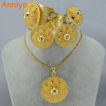 Anniyo Habesha Set Ethiopia Style Necklace/Earrings/Ring/Bangle Gold Color Dubai Jewelry/Sudan Wedding Gift #000720