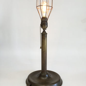 Vintage Brass Lamp, Brass Cage Lamp, Brass Table Lamp, Primitive Lamp, Antique Table Lamp, Primitive Lighting, Industrial Lighting