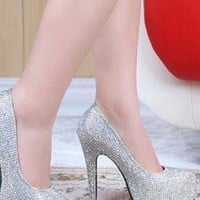 Paillette Rhinestone High-heeled Shoes