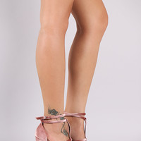 Qupid Velvet Strappy Stiletto Platform Heel