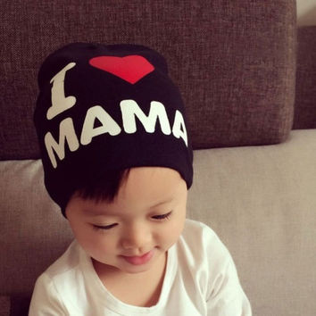 Cute I lOVE MAMA Toddler Kids Baby Boy Girl Infant Cotton Soft Beanie Hat Cap = 1929923140