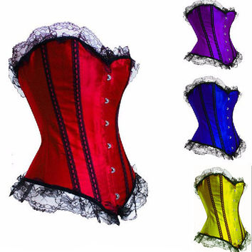 Red Lace Ruffled Corset