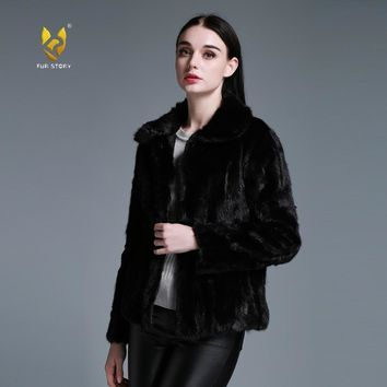 Fur Story 15136 New Women's Genuine Mink Fur Coat Women 4XL 5XL Plus Size Female Cheap Mink Coats Natural Fur Jackets