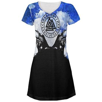 Huginn and Muninn Odin's Ravens Blue Splatter Juniors V-Neck Beach Cover-Up Dress