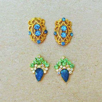Gold Nail Charm, Blue Rhinestones, Gold Hollowed out Nail Cover, Elegant Nail Design, Gift, Nail Embellishment - 4 pc of Nail Charm, 3d Nail