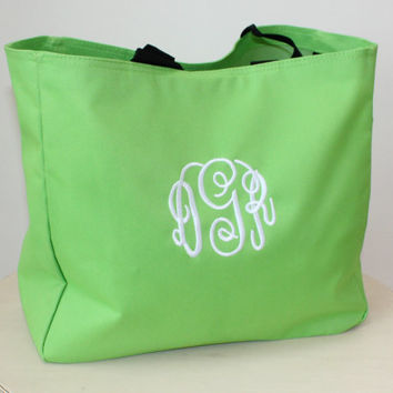 Monogram Tote Bag Bright Lime Green, Personalized Bag, Christmas Gifts Under 20 Dollars, Large Grocery Tote Bag