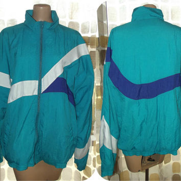 Vintage 80s Geometric Colorblock Windbreaker Jacket JOCKEY Lightweight Vaporwave Coat XL/XXL Tall