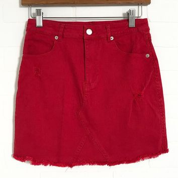 Bright Red Denim Frayed Skirt