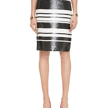 sequin cape stripe pencil skirt