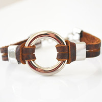 Brown Leather Bracelet. Male Jewelry. Man's Adjustable Bracelet. Gift idea for him.