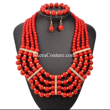 7 Color African Beads Jewelry Sets Necklace Bracelet Earring Set Wedding Nigerian Jewelry Sets BW222