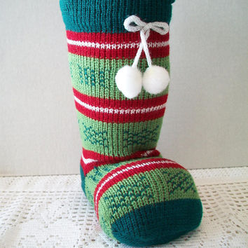 Vintage Christmas Boot Stocking Striped Holiday Crochet Sweater Bootie Sock Home Decor