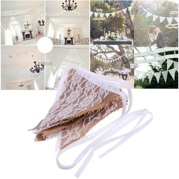 3m 12 Flags Rose White Lace Pennant Bunting Banner Vintage Linen Party Wedding Decor Hanging Ornaments