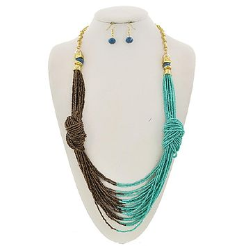 Knotted Turquoise and Brown Seed Bead Necklace