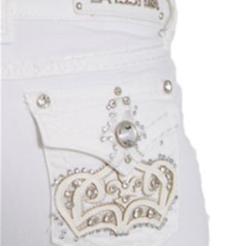 LA Idol Jeans Skinny White Denim with Leather Crown Pocket 5173NR