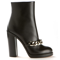 GIVENCHY BLACK LEATHER MIRTA ANKLE BOOTS EMBELLISHED WITH SILVER TONE CHAIN