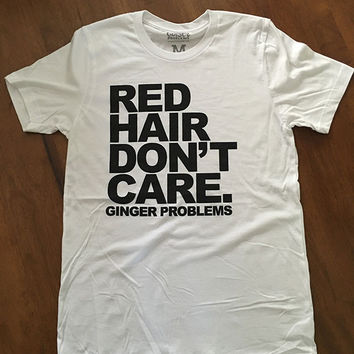 Classic Red Hair Don't Care White Tee