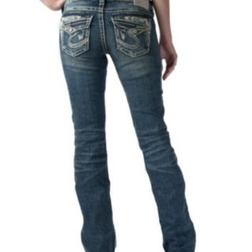 Silver Jeans Women's Medium Wash Tuesday with Distressed Front Low Rise Bootcut Jeans