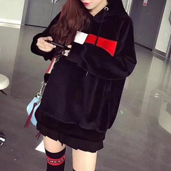 """Tommy Jeans"" Women Fashion Multicolor Pattern Hooded Long Sleeve Sweater Ruffle Short Skirt Set Two-Piece"