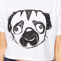 ASOS Cropped T-Shirt with Sketchy Pug