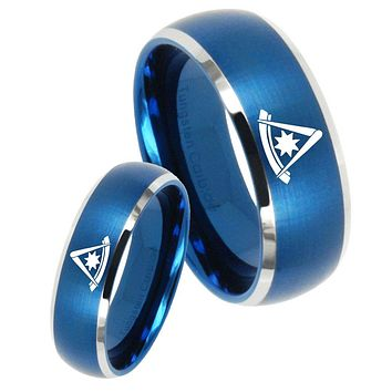 His Her Satin Blue Dome Flat Christian Cross Two Tone Tungsten Wedding Rings Set