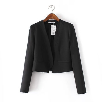 V-neck Sweets Long Sleeve Suits Blazer Jacket [8173435911]