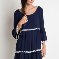 Be There For Me Teared Peasant Dress - Navy