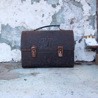 Vintage Metal Lunch Box/Mill Worker/Unions/Rust Belt/Black Lunch Box