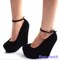 Hot New Sexy Ladies Wedges Ankle Strap High Heel Platform Women Round Toe Shoes