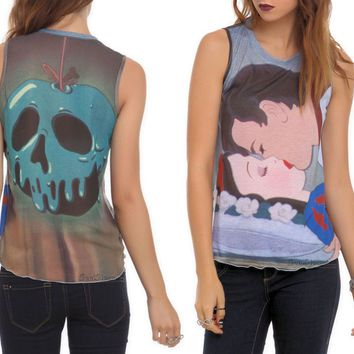 Licensed cool NEW Disney Princess Snow White Deadly Kiss Prince & Poison Apple JRS. Tank Top