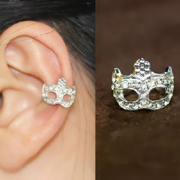 Silver Opera Mask Rhinestone Ear Cuff (Single, No Piercing)