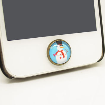 Christmas Gift 1PC Retro Epoxy Transparent Time Gems Alloy Snowman Cell Phone Home Button Sticker Charm for iPhone 4s,4g,5,5c Friend Gift
