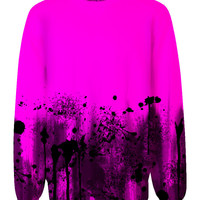 Black Splatter Allover Print Sweatshirt