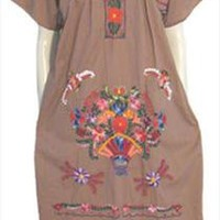 Light Brown Cotton Hippie Vintage Mexican Dress