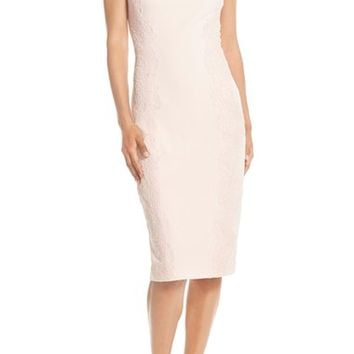 Maggy London Lace Detail Crepe Sheath Dress (Regular & Petite) | Nordstrom