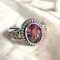 Pink Quartz Ring, Sterling Silver Fairytale.