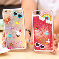 For Iphone 6 Fantasy 3D Cartoon Bling Glitter Liquid Case for Apple iphone 6 4.7'' Hard Back Cover New Arrivals