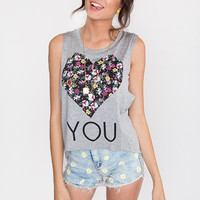 Heart You Floral Top - Grey