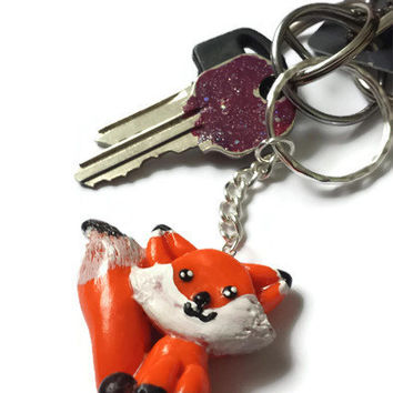 Red Fox Keychain - Polymer Clay cute animals - Kawaii accessories - Miniature Clay Fox - Animal pendant - Handmade - Red Fox Figurine