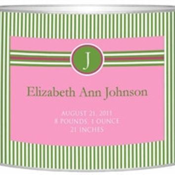 Birth Announcement Personalized Baby Bin| Green Pink