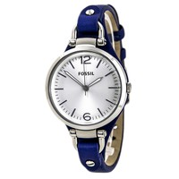 Fossil ES3318 Women's Georgia Silver Dial Blue Leather Strap Watch